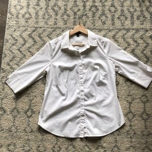 Anne Taylor 3/4 sleeve white button up